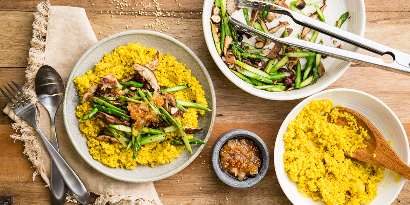 Curried Millet with Asparagus & Apricot Onion Chutney