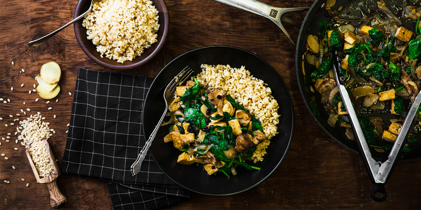 Wicked Healthy Shiitake Tofu Stir-fry with Fermented Black Bean Sauce & Spinach