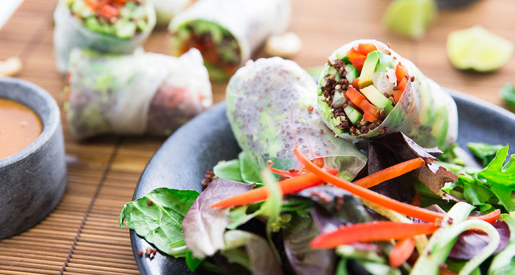 Summer Rolls with Minted Edamame & Cashew Sauce
