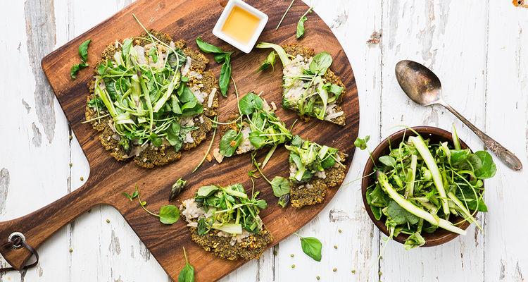 Pizza Bianca with Shaved Asparagus Salad & Vegan Mozzarella