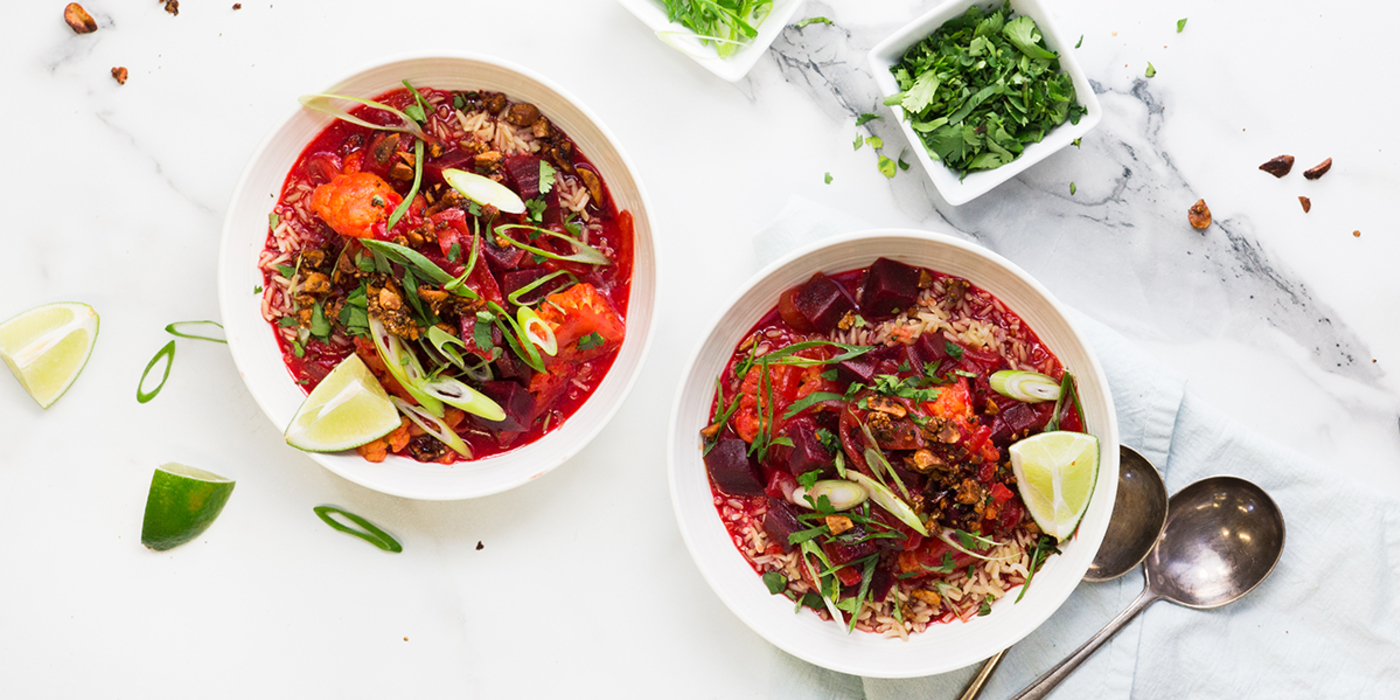 Red Beet Curry with Peanut Brittle and Brown Basmati Rice