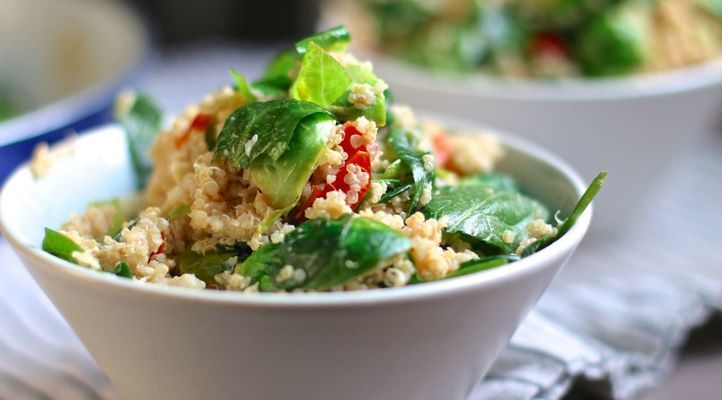 Quinoa Salad with Brussels Sprouts with a Zesty Tahini-Lemon Vinaigrette