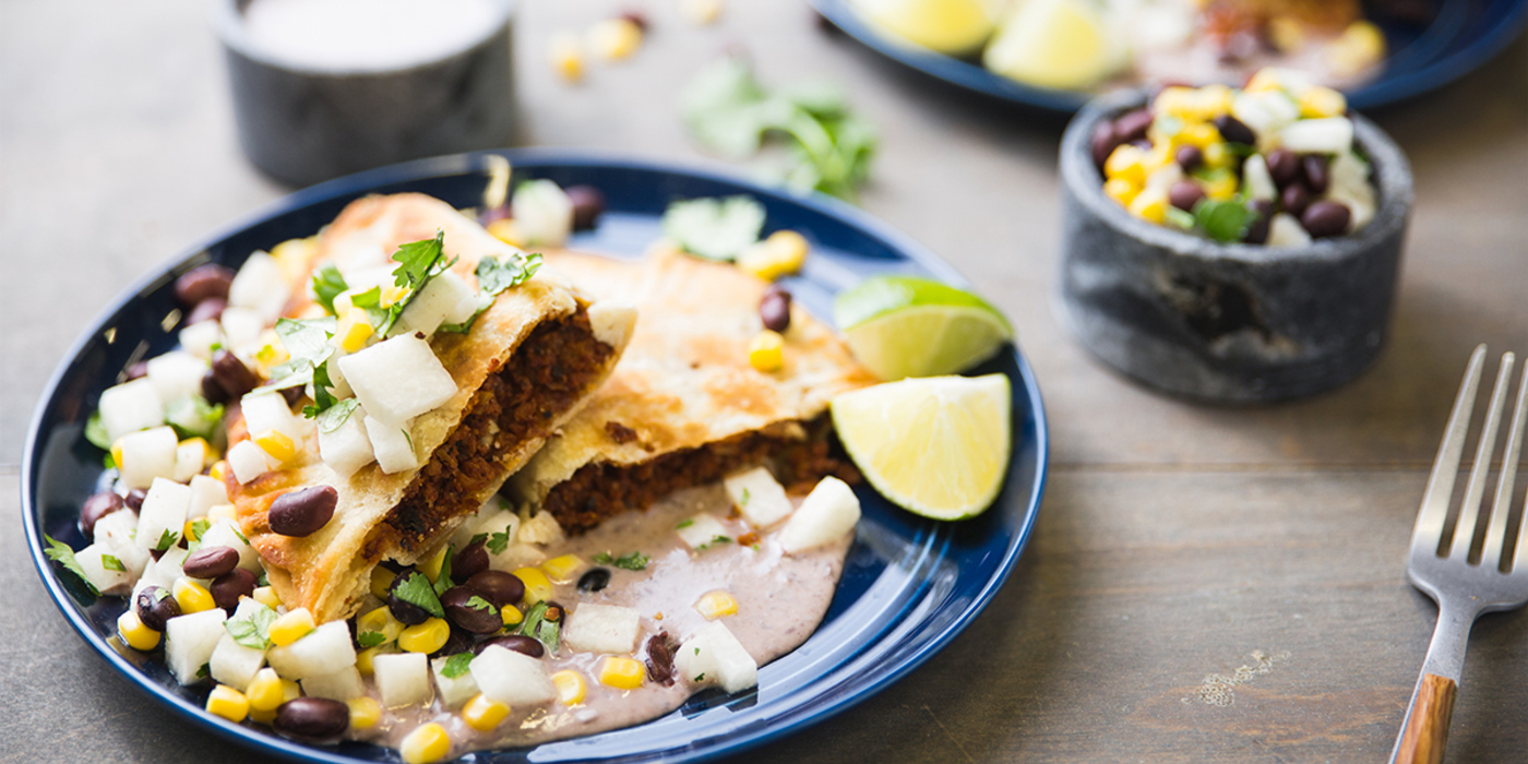 Empanadas with Black Bean Puree and Jicama-Corn Salad