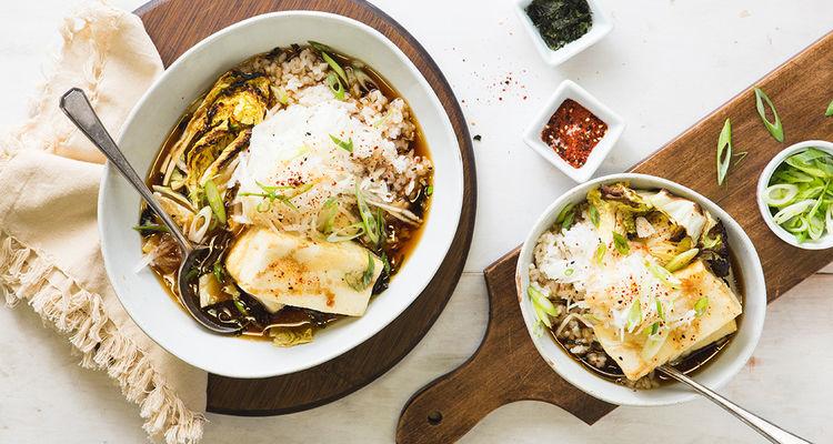 Agedashi Tofu with Sweet Miso Roasted Napa and Daikon Radish