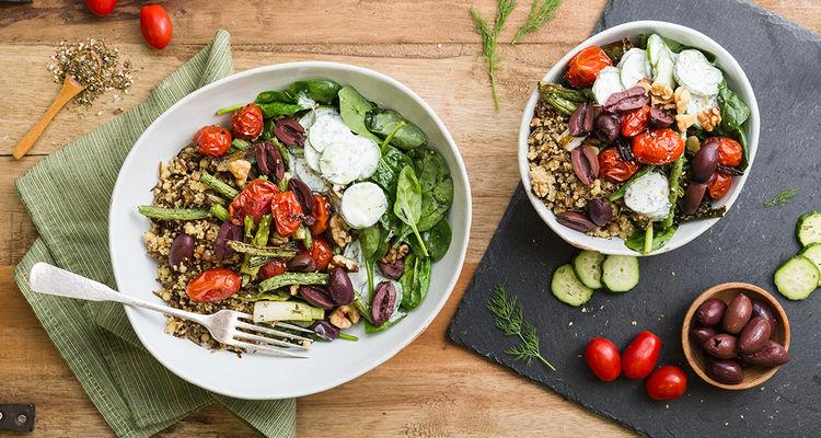 Ancient Grain Bowl with Za'atar Roasted Cherry Tomatoes & Yogurt Cucumbers