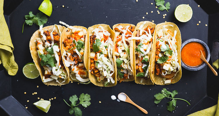 Tempeh Tacos Al Pastor with Pineapple Salsa