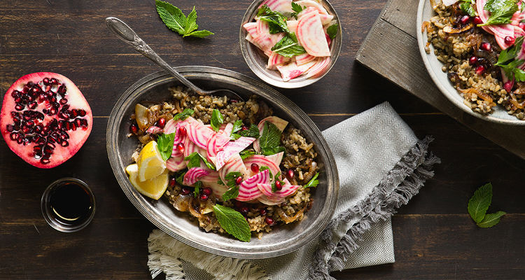 Pomegranate Mujaddara with Caramelized Onions and Herbed Beet Salad