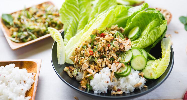 Thai-Style Cauliflower with Kaffir Lime & Sticky Rice