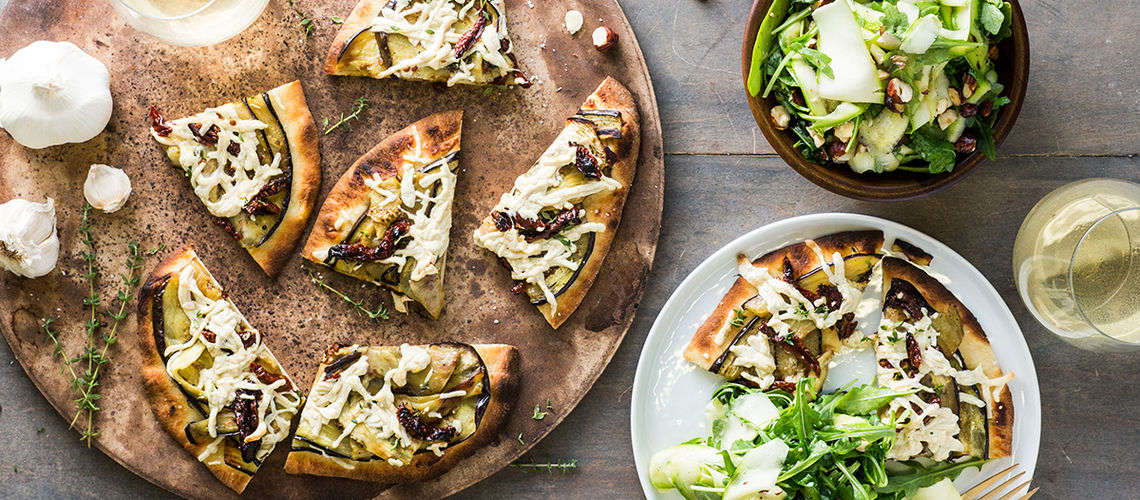 Eggplant Parmesan Flatbread with Shaved Zucchini and ...