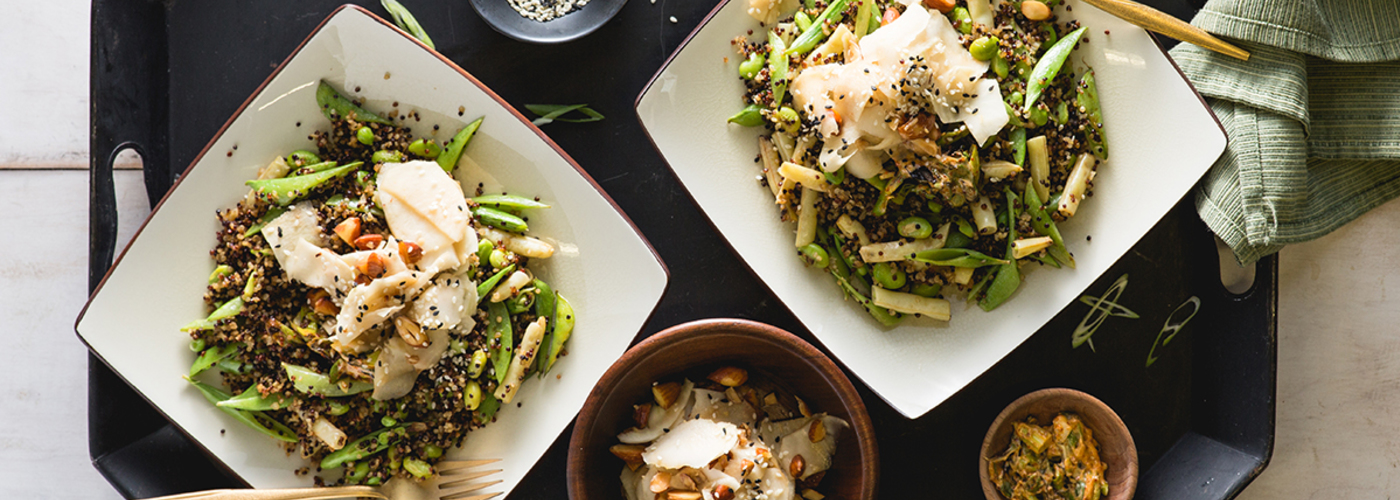 Quinoa Fried Rice with Charred Scallion Butter and Kohlrabi Salad
