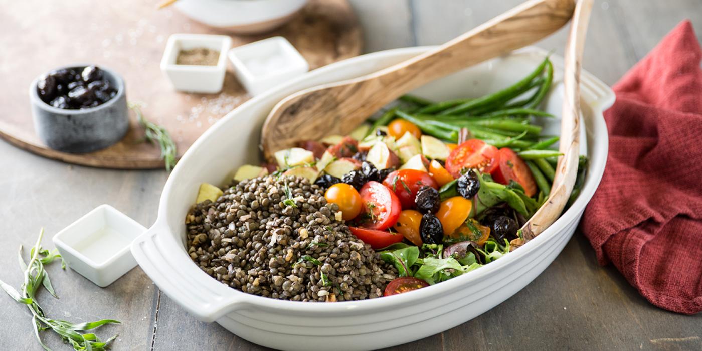 Niçoise Salad with Walnut Lentils & Warm Tarragon Vinaigrette