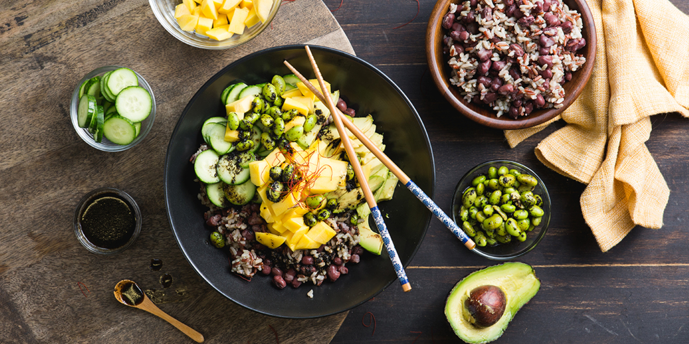 Mango Poke Bowl with Red Beans and Sea Lettuce Dressing