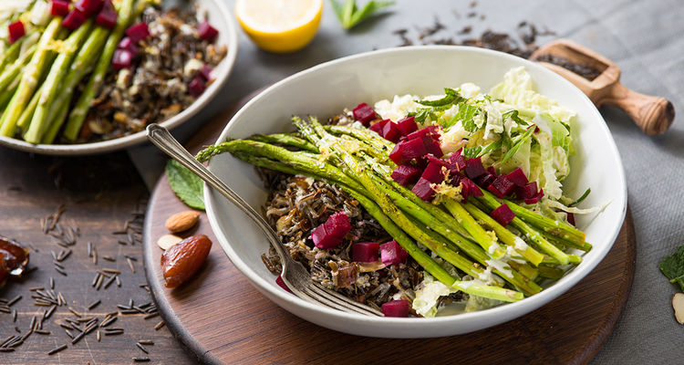 Date Almond Pilaf with Lemon Asparagus and Minty Cabbage Slaw