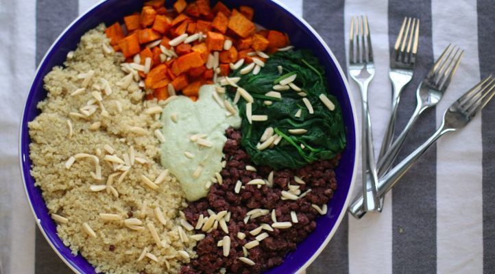 Quinoa Power Bowl with Adzuki and Spinach