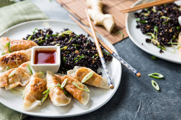"""Corn & """"Crab"""" Dumplings with Ginger-Fried Rice and Sweet Chile Sauce"""