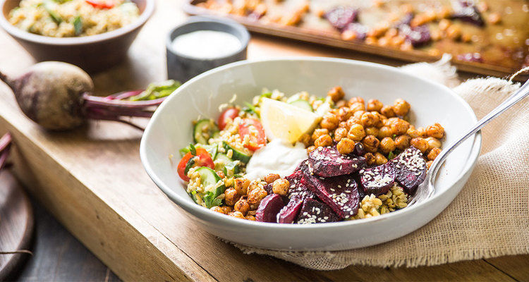 Spiced Chickpea Grain Bowl with Freekeh Tabbouleh and Roasted Beets