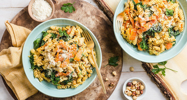 Rotini Aglio Olio with Kale and Toasted Hazelnuts