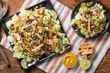 Taco Salad with Chipotle Seitan and Cashew Cheese Sauce