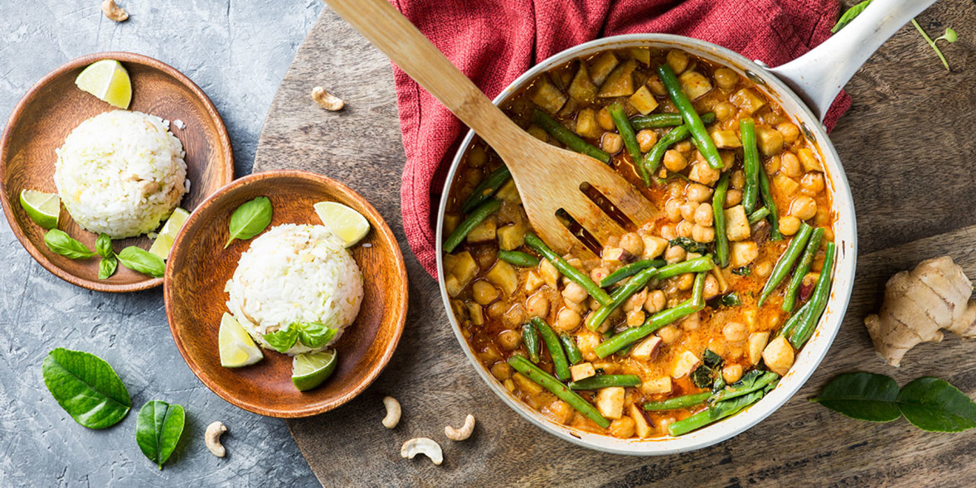Sweet Potato Panang Curry with Ginger Cashew Rice