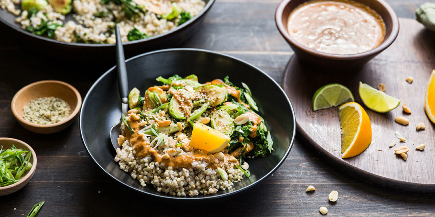 Buckwheat Bowl with Citrus Almond Butter Sauce and Brussels Sprouts