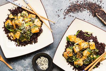 Crispy Sesame Tofu with Turnips and Midnight Grains