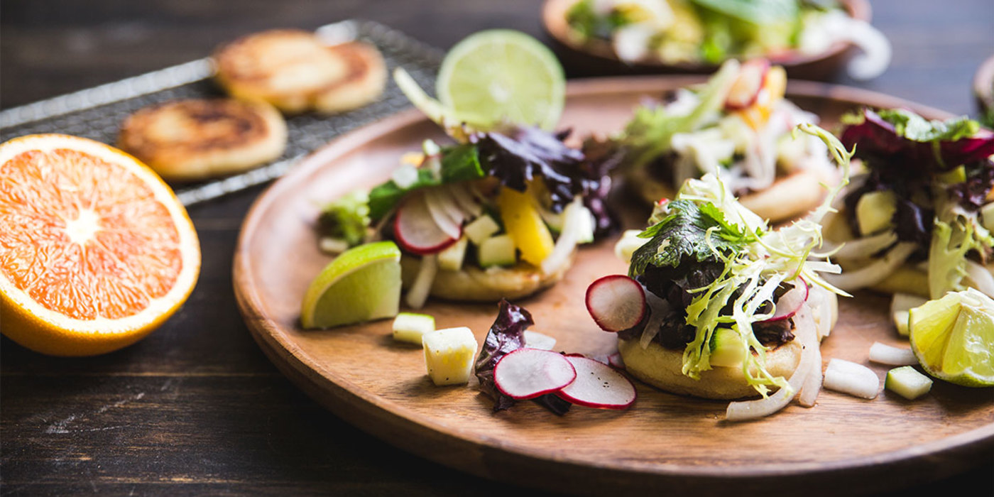 Cornmeal Arepas with Black Beans and Zucchini Citrus Salsa
