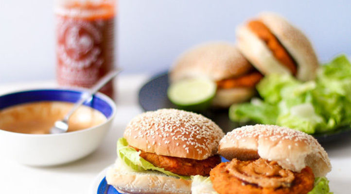 Massaman Curry Butternut Burgers with Tangy Peanut Sauce