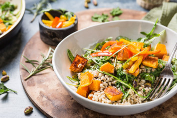 Butternut Barley Bowl with Pickled Peppers and Pistachios