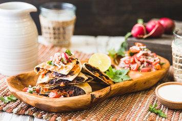 Kimchi Quesadilla with Radish Pico de Gallo and Lime Crema