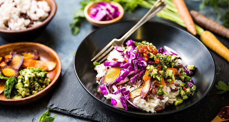 Thai Coconut Rice Bowl with Roasted Carrots and Cilantro Mint Chutney