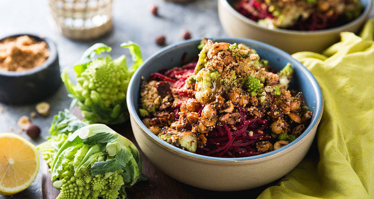Beet Noodles with Romanesco and Hazelnut Hemp Seed Crumble