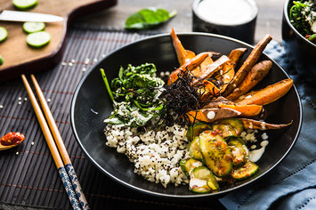 Sweet Potato Sushi Bowl with Sambal Cucumbers and Yuzu