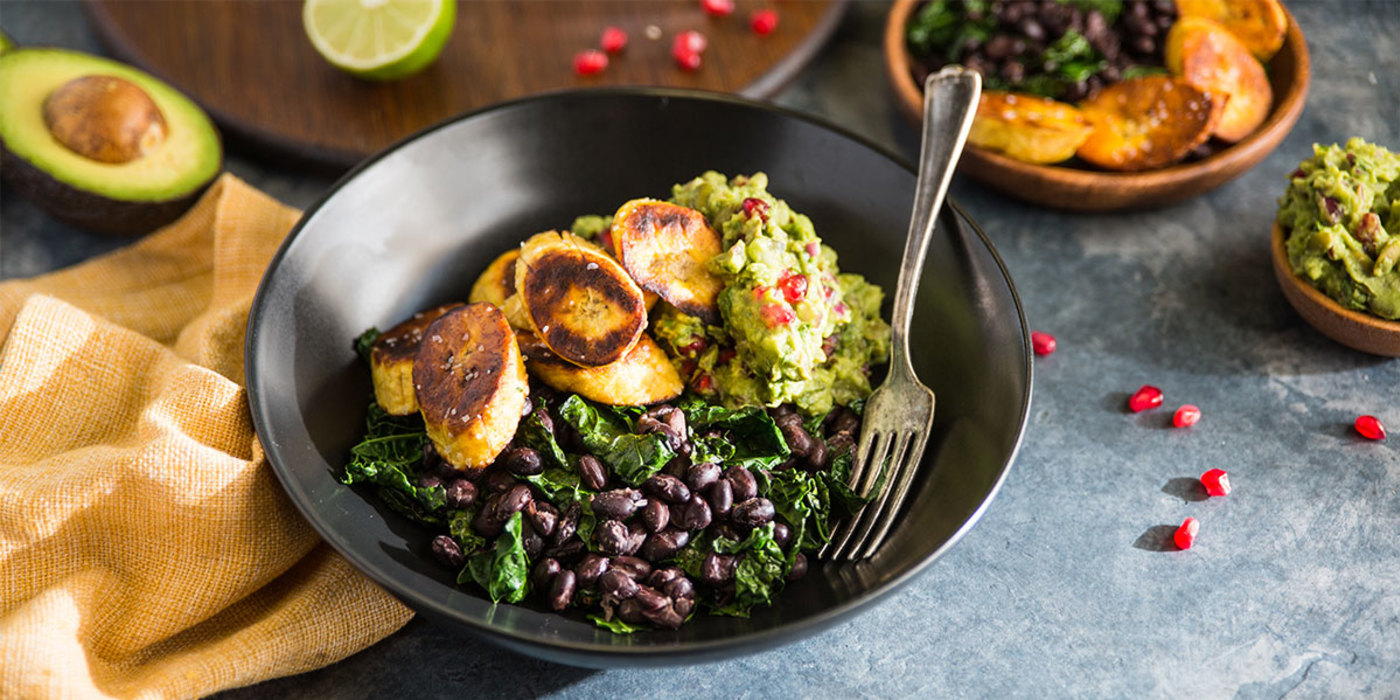 Plantain Bowl with Black Beans and Loaded Guacamole