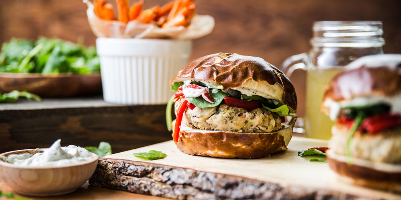 Pesto Bean Burgers with Roasted Peppers and Carrot Fries