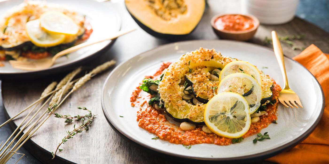 Herb-Crusted Squash with Butter Beans and Romesco Sauce