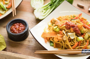 Vegetable Chow Mein with Sweet Potato and Garlic Tamari Sauce