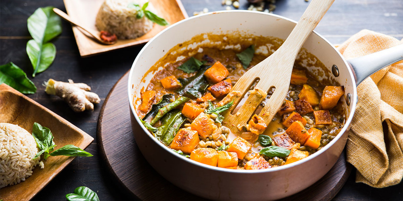 Pumpkin Curry With Mung Beans And Basmati Rice