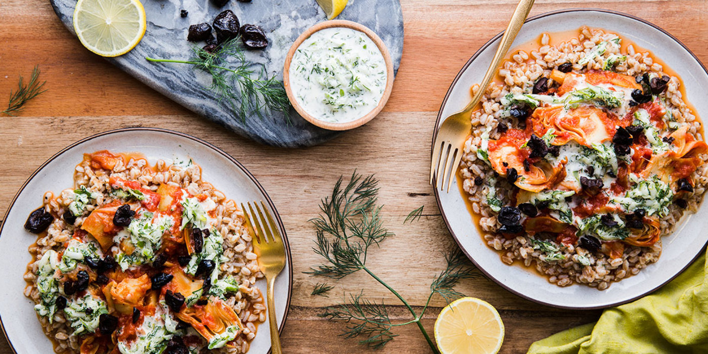Tomato-Braised Artichokes with Bright Dill Sauce and Farro