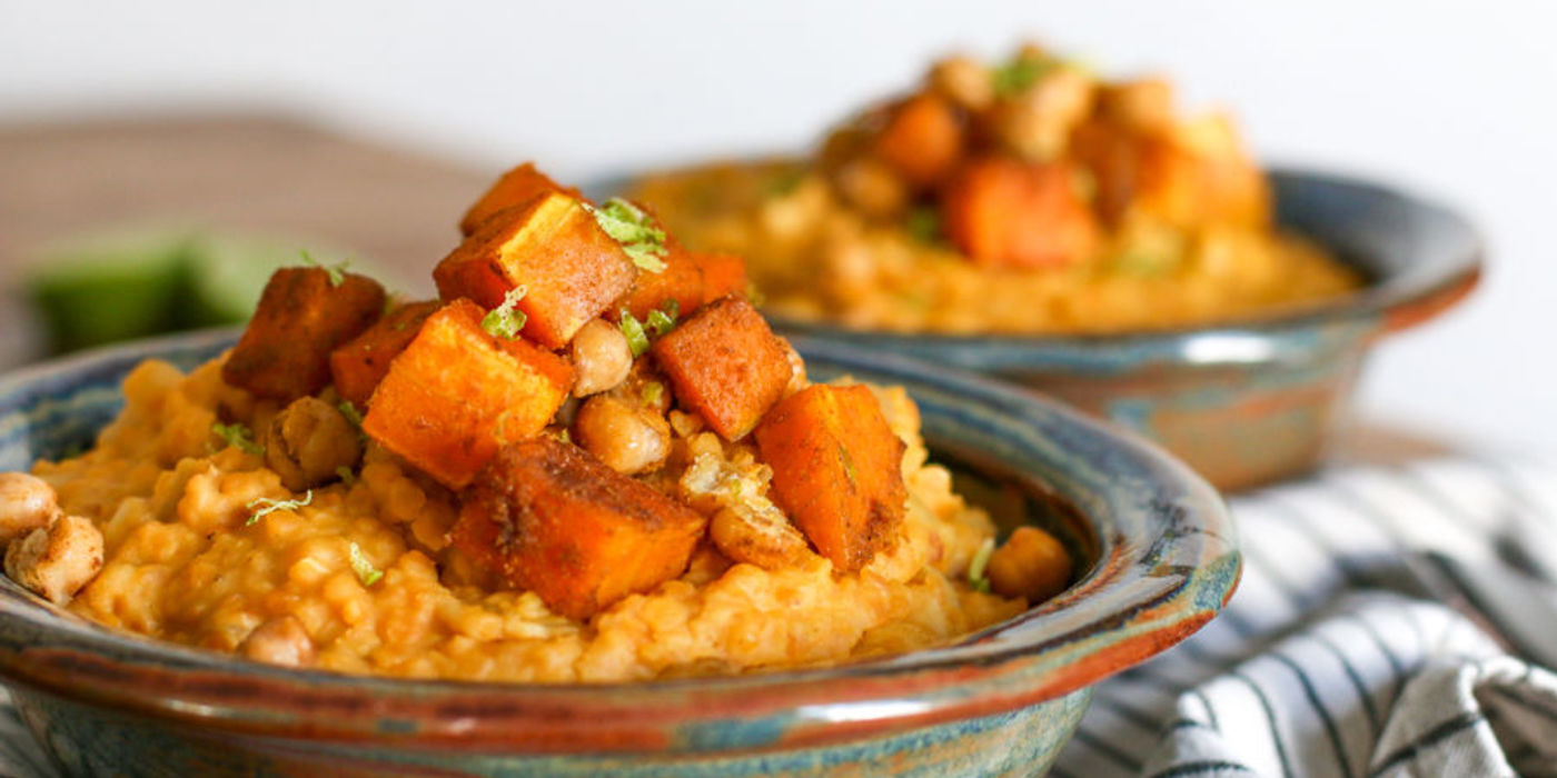 Creamy Coconut Lentils with Roasted Winter Squash