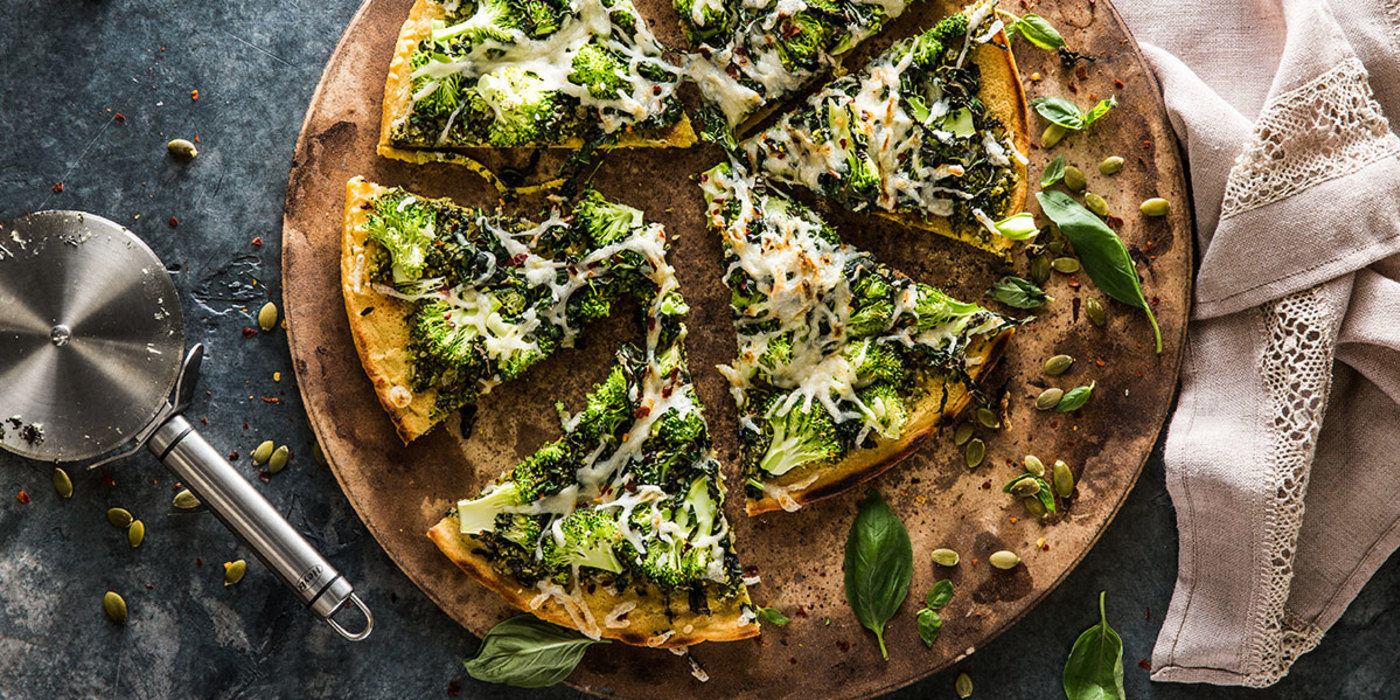 Socca Pizza with Hemp and Pumpkin Seed Pesto