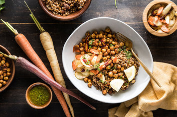 Apricot Wheat Berry Bowl with Zesty Chickpeas and Parsley Vinaigrette