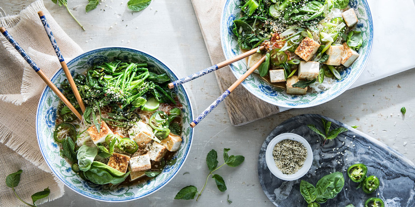 Loaded Vegetable Pho with Yu Choy and Broccolini