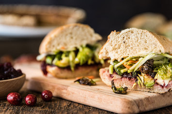 Thanksgiving Sandwich with Sage Roasted Brussels & Classic Gravy