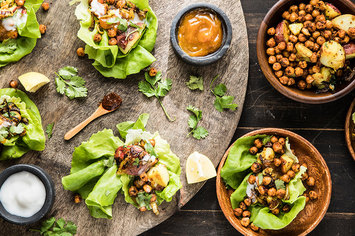 Dosa Lettuce Wraps with Spiced Chickpeas and Mango Chutney