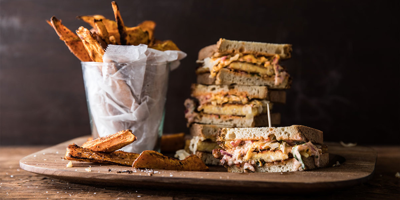 Tempeh Reuben with Thousand Island Dressing and Zesty Sweet Potato Fries