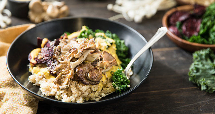 Forest Bowl with Earthy Vegetables and Turmeric Cashew Sauce