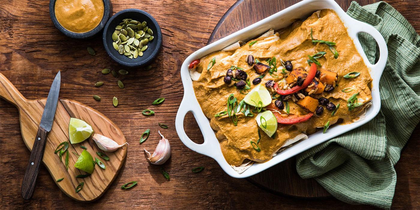 Black Bean and Squash Enchiladas with Pumpkin Seed Mole