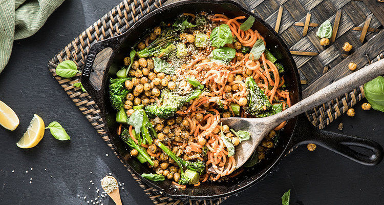 Za'atar Sweet Potato Noodles with Crispy Chickpeas and Broccolini