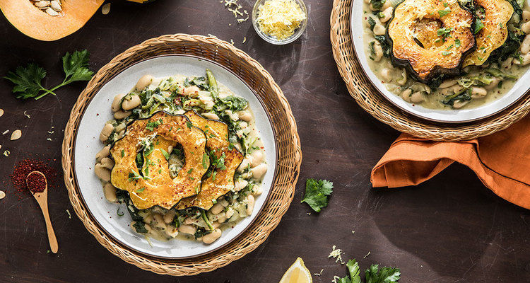 Maple-Glazed Acorn Squash with Creamed Spinach and Cannellini Beans