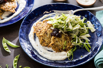 Potato Latkes with Fennel Slaw and Stone Fruit Preserves